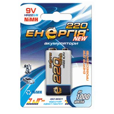 Фото нетАккумулятор 6F22 Энергия (крона 220mA)