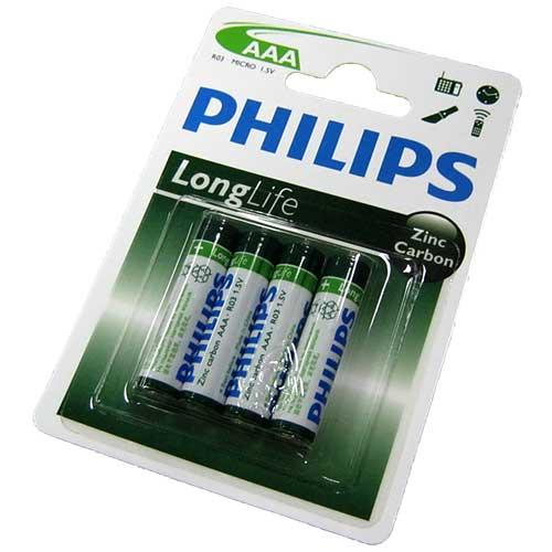 Фото нетБатарейка R03 Philips long life блистер по 4шт
