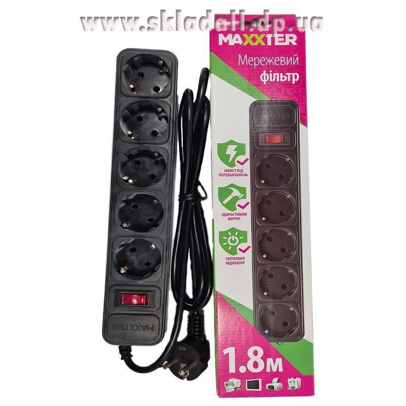 Сетевой фильтр Maxxter (5 розеток) 1,8m черный в коробке SPM5-G-6B