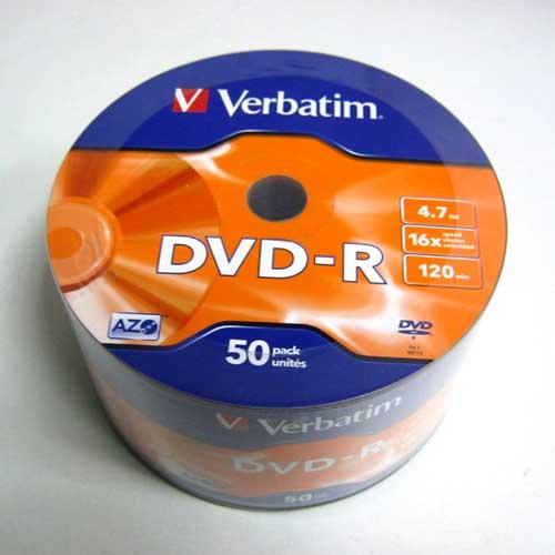 Диск Verbatim 4.7Gb -16x (Wrap 50) DVD-R AZO 43788 (Акция!!!)