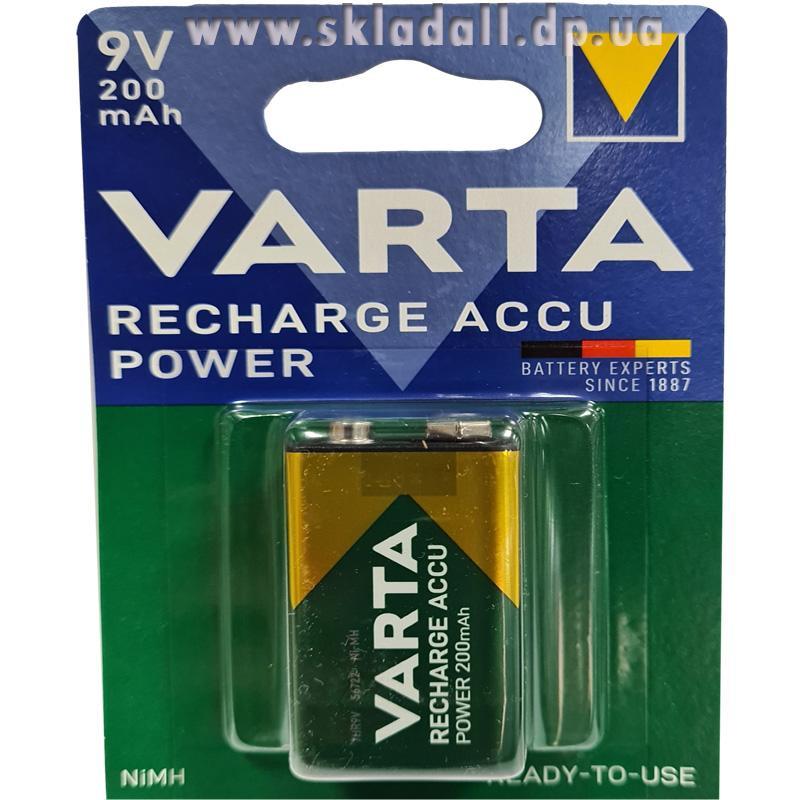 Фото нетАккумулятор 6F22 Varta R2U (крона 200mA) (56722)(предзаряженная)