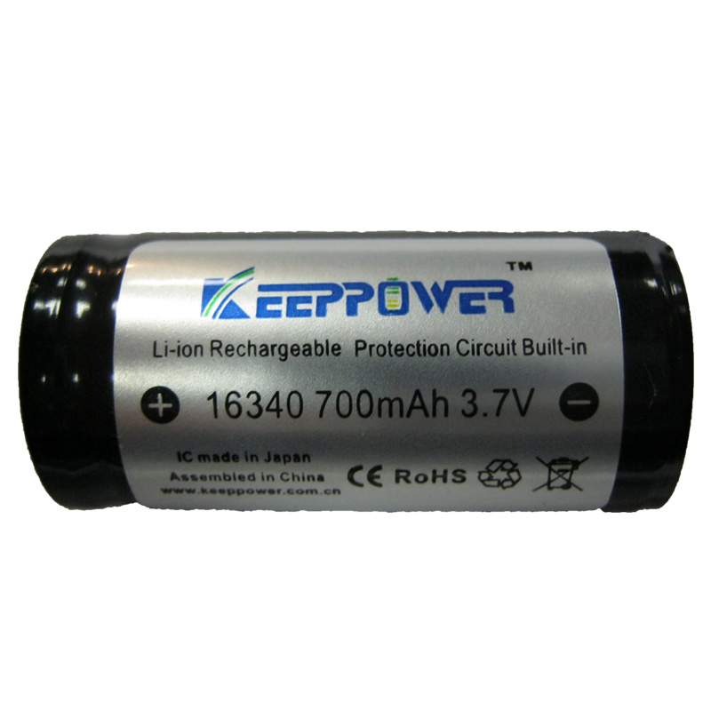 Фото нетАккумулятор литиевый 16340 (CR123) Keepower 700mAh 3.7V Li-ion(с электроникой)