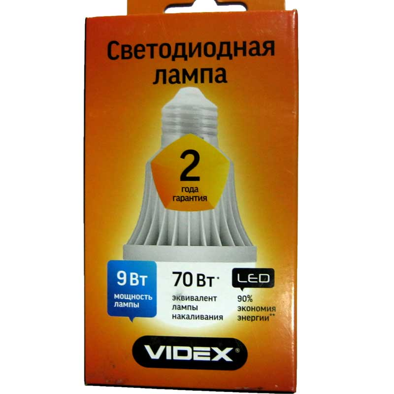 Лампочка светодиодная Videx A60e 9W E27 3000K (VL-A60e-09273)