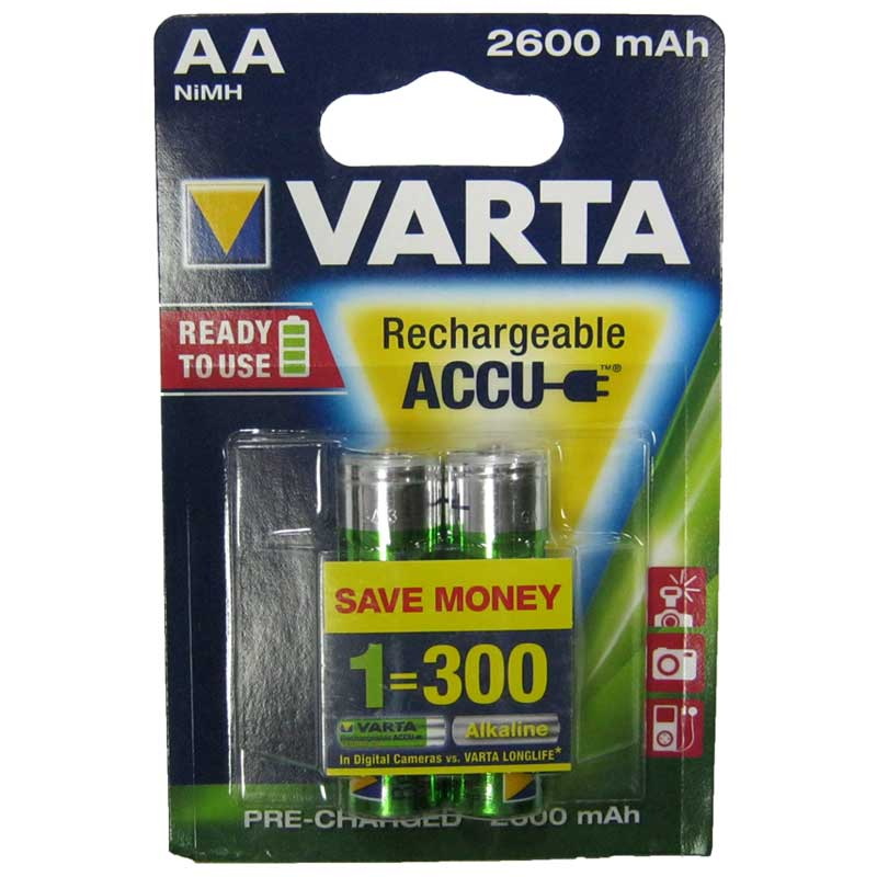 Фото нетАккумулятор R6 Varta 2600mAh NiMH Prof (5716)(по 2шт)(Акция!!!)(предзаряженный) AA