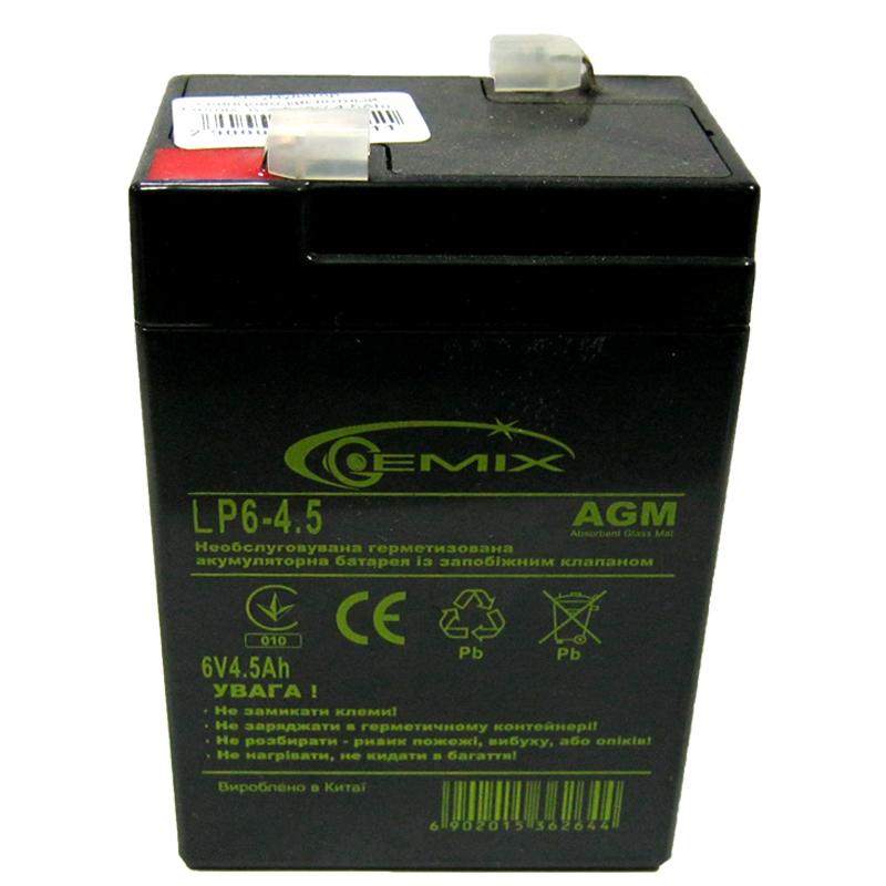Фото нетАккумулятор свинцово-кислотный Gemix LP6-4.5 (6V,4.5Ah)