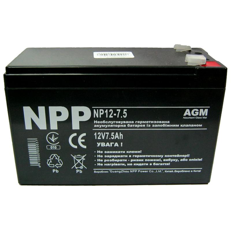 Фото нетАккумулятор свинцово-кислотный NPP NP12-7.5 (12V,7.5Ah)(Акция!!!)