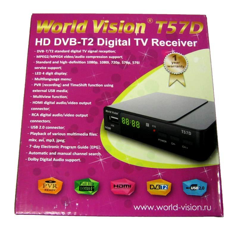 ����� DVB-T Wold Vision T57D � �������(���� ������� 12V;USB 2.0, AVI;MPEG4 � �.�)(34 ������ �����)
