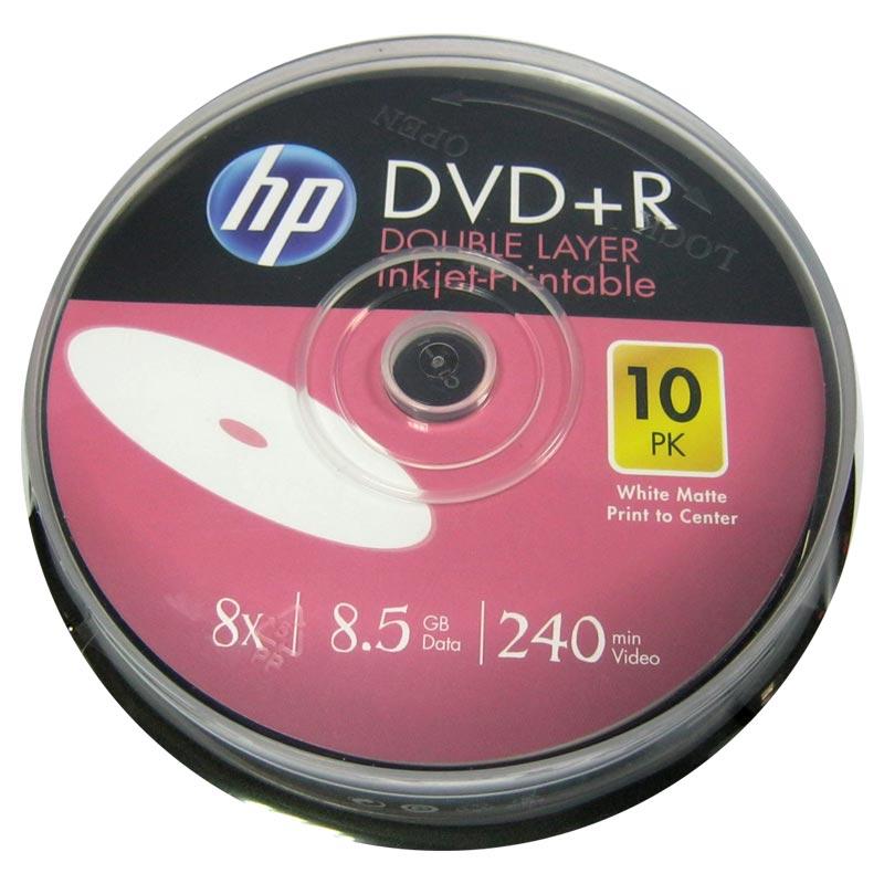 Фото нетДиск HP 8,5Gb - 8x (cake 10) Printable DVD+R двухслойная