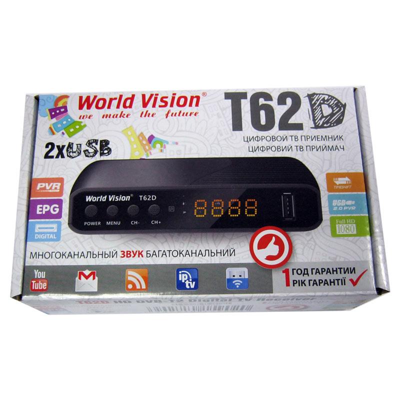 Тюнер DVB-T2 World Vision Т62D(гар.30дн.)(2xUSB 2.0,доп.IPTV;YouTube;WiFi)(34 канала прием)