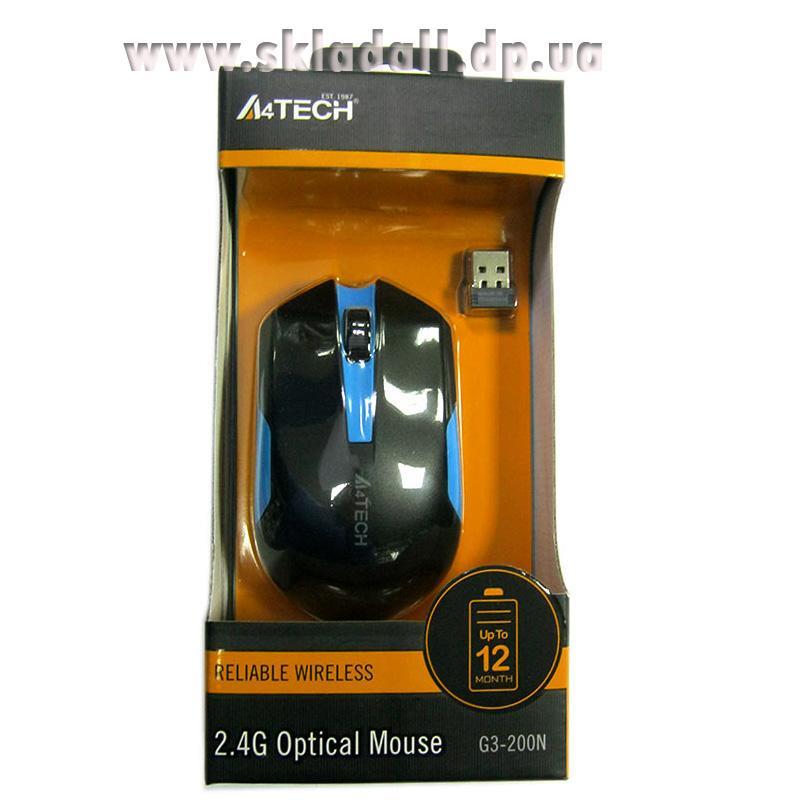 Беспроводная мышка A4Tech G3-200N Black-Blue,V-TRACK USB(Акция!!!)