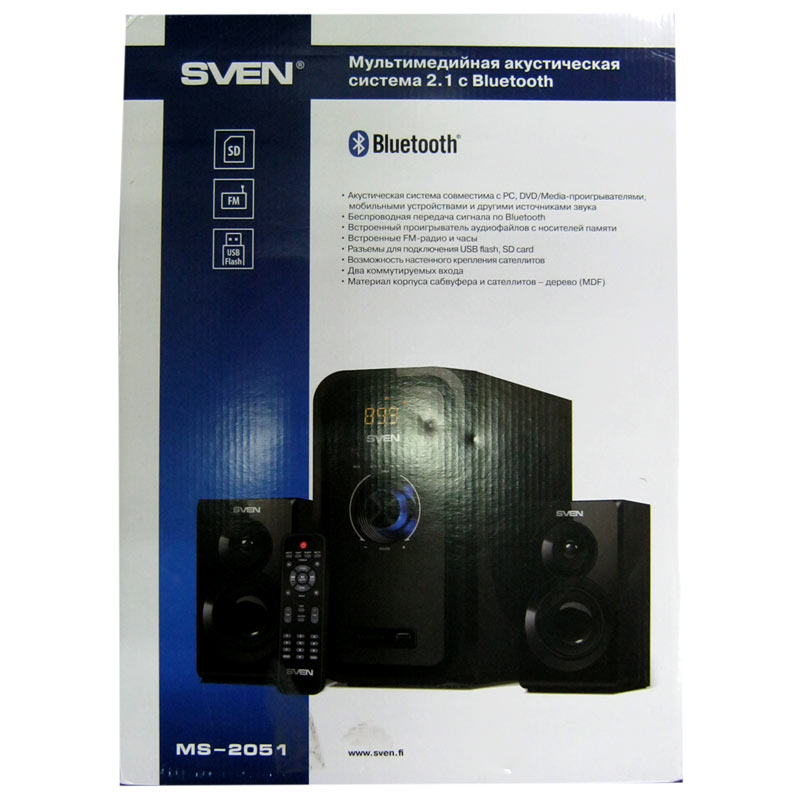 Фото нетКолонки Sven MS-2051(black),2.1 30W Woofer, 2x12,5W,Bluetooth,LED,FM,SD,пульт ДУ
