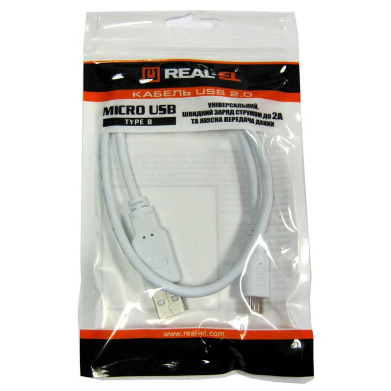 Фото нетКабель REAL-EL USB-micro USB 0,5m White