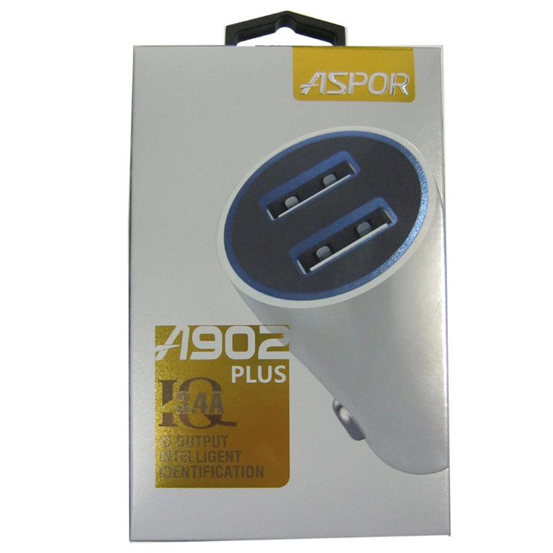 Автомобильное зарядное устройство ASPOR A902 Plus 2-USB порта(3,4А)с LED подсветкой
