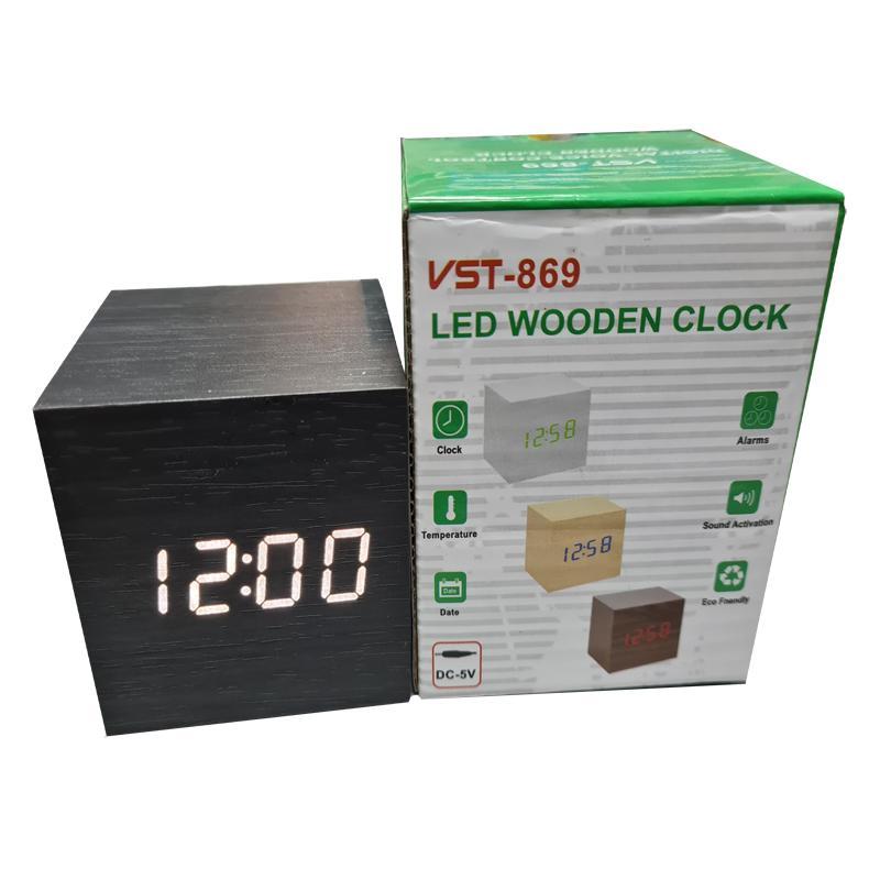 Часы VST-869-6(с белой подсветкой,форма в виде дерев.бруска)