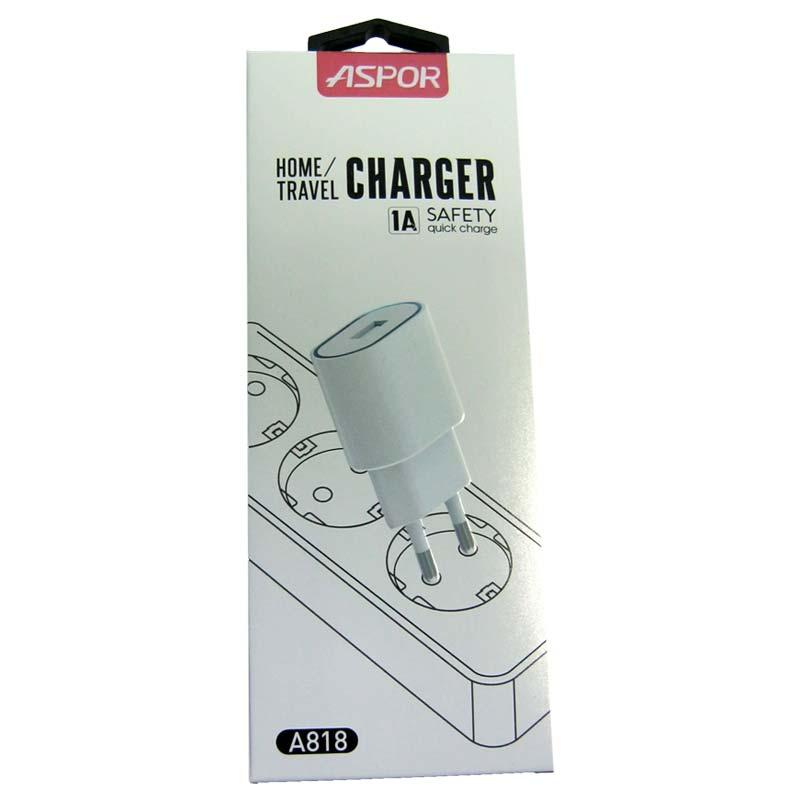 Зарядное устройство ASPOR A818 LED 1-USB;1A;белый