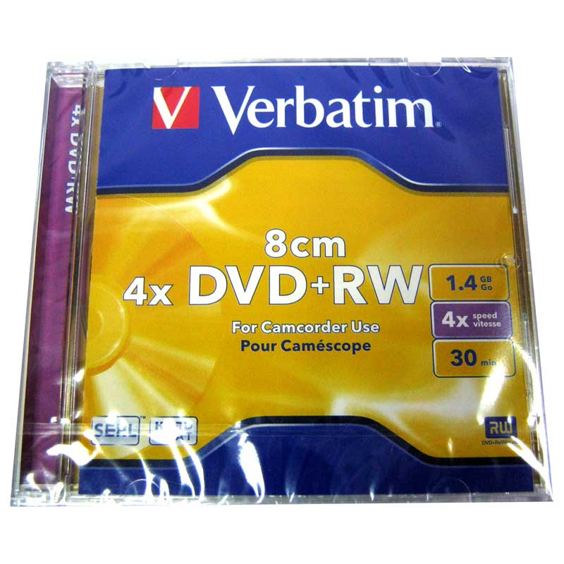Диск mini DVD+RW VERBATIM 1,4Gb/30min 4x Jewel box