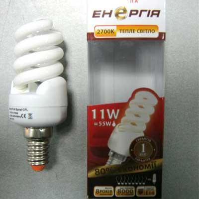 Лампочка энергосберегающая Энергия ЕM1114 T Micro Full Spiral 11W E14 2700K(Распродажа!!!)