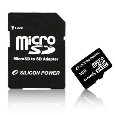 Карта памяти micro-SDHC 8Gb SiliconPower Class 4