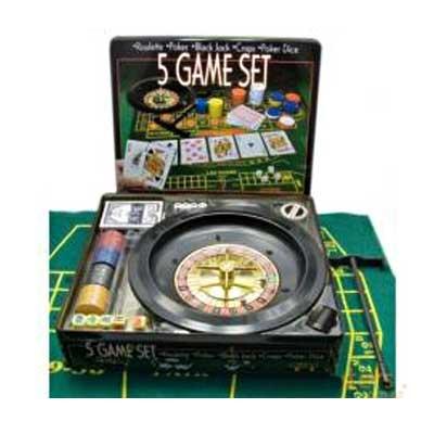 Покерный набор 5 игр (H18443)(Распродажа!!!) метал.кейс (карты + фишки+сукно)