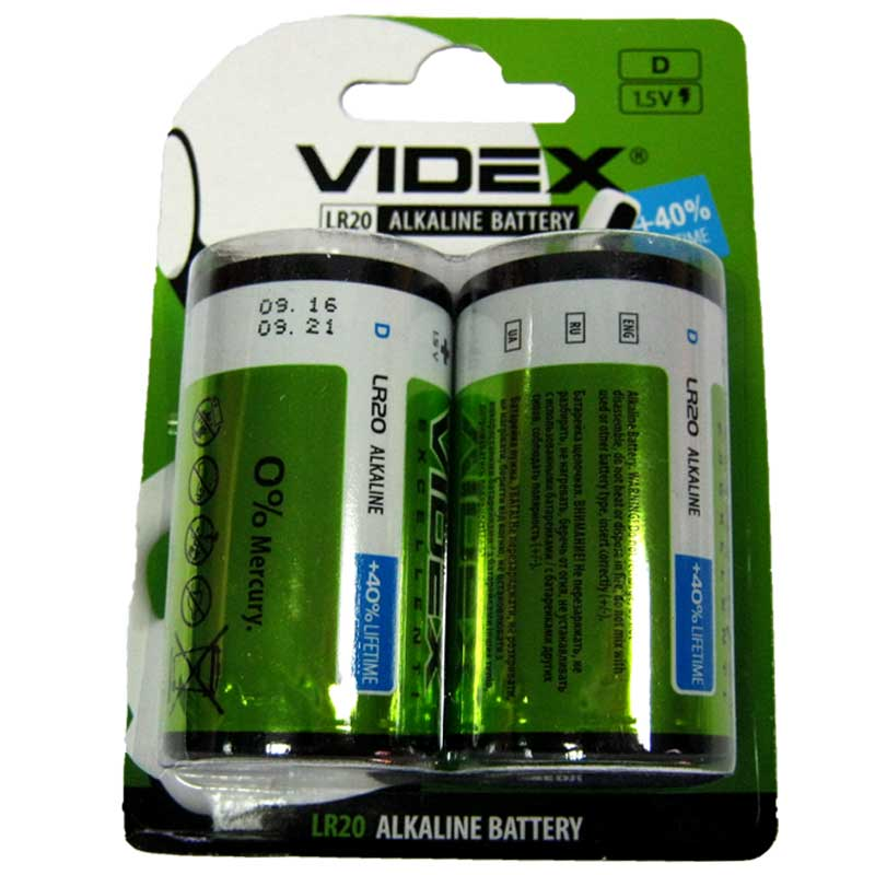 Батарейка LR20 Videx блистер