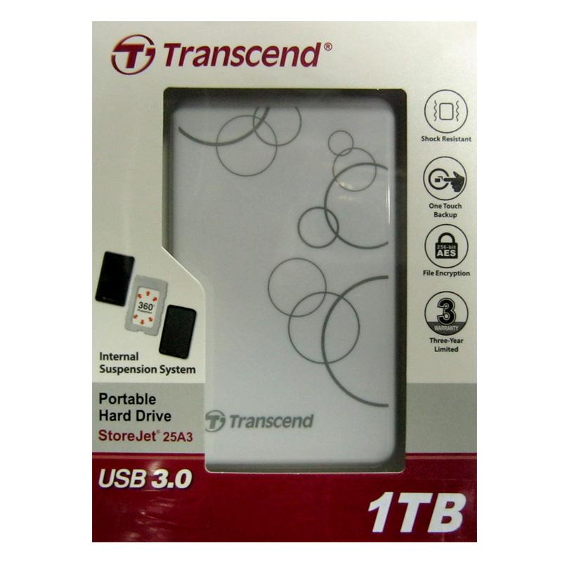 Портативный жёсткий диск HDD.1.0Tb Transcend TSJ25A3W USB3.0 SJ2.5