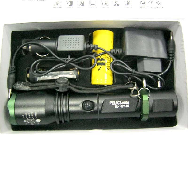 Фонарь аккумуляторный Bailong BL-1827-Т6 (5000W+ЗУcеть;Li-ion26650+ЗУавто)