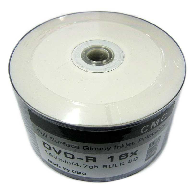 Диск CMC 4,7Gb - 16x (bulk 50) DVD-R Glossy Printable