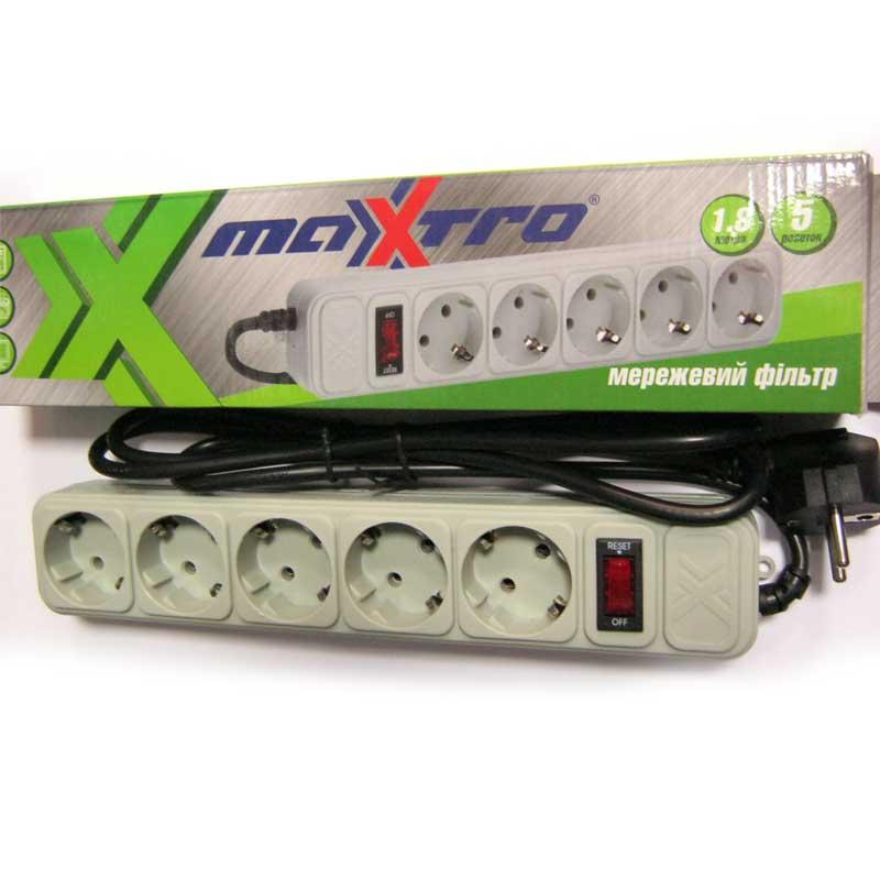 Сетевой фильтр Maxxter (5 розеток) 1,8m серый в коробке SPM5-G-6G
