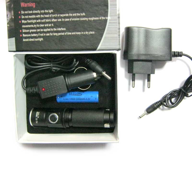 Фонарь аккумуляторный Bailong BL-1849 (AR-881)(ЗУcеть;Li-ion14500+ЗУавто)