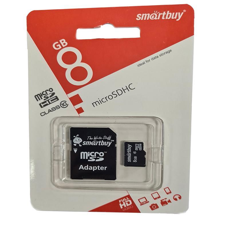 Карта памяти micro-SDHC 8Gb Smartbuy Class10 + адаптерSD
