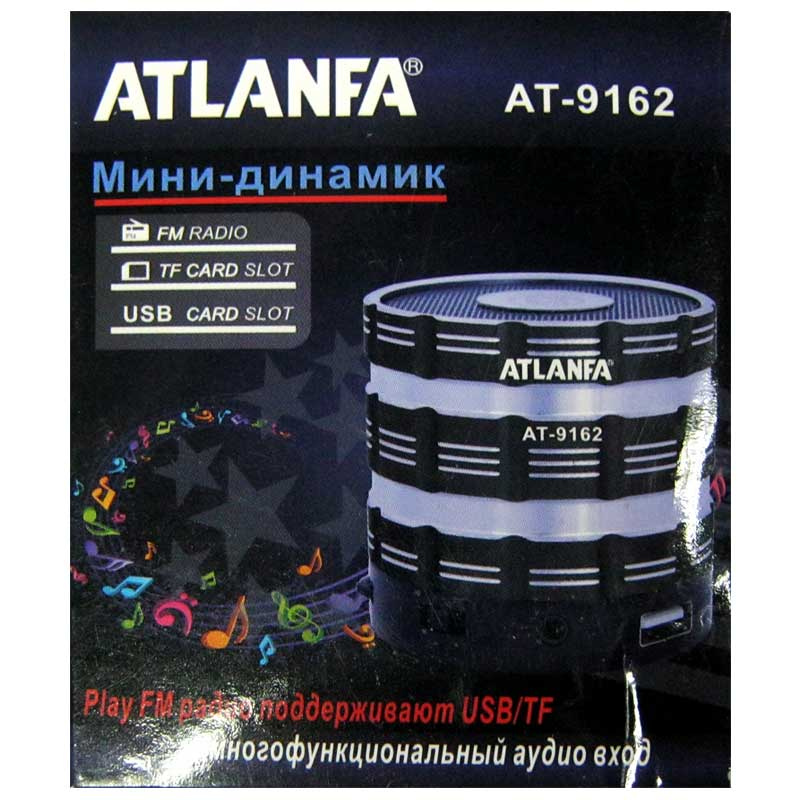 Портативная колонка Atlanfa AT-9162 мини(Рапродажа!!!)(аккумулятор.USB;microSD)