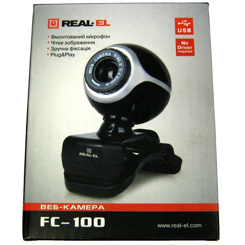 Web камера REAL-EL FC-100 Black USB 1.3Mp(с микрофоном)(Акция!!!)