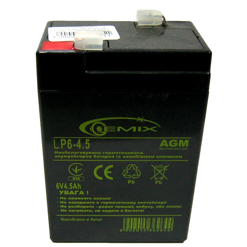 Аккумулятор свинцово-кислотный Gemix LP6-4.5 (6V,4.5Ah)