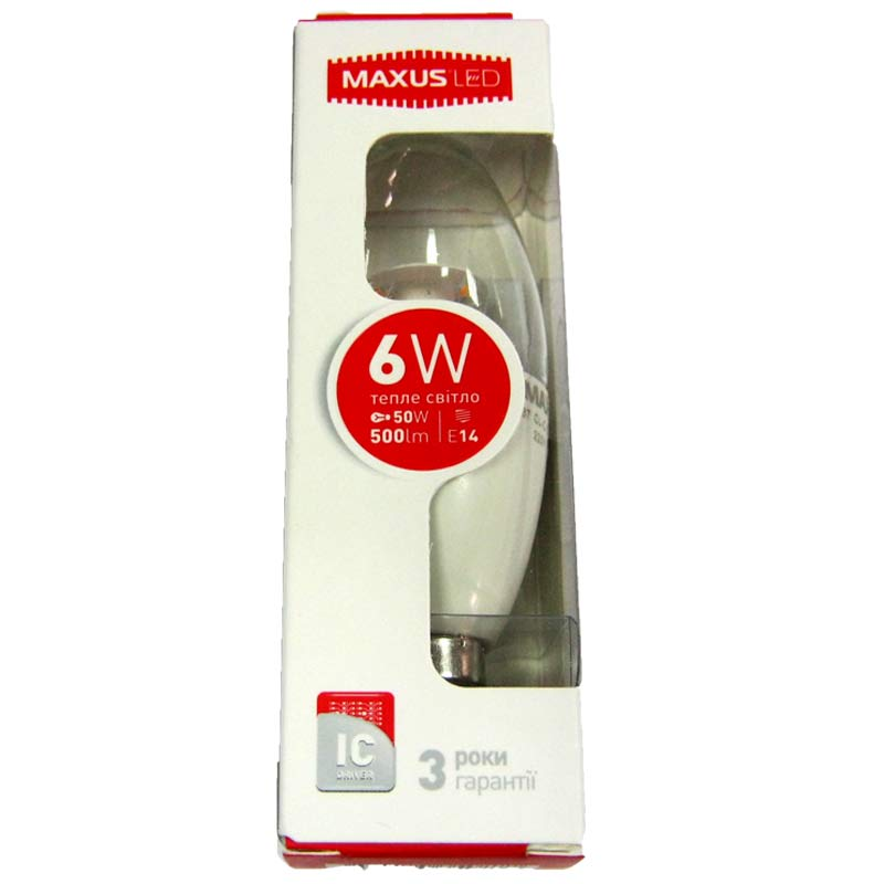 Лампочка светодиодная Maxus led 531 C37 CL-С 6W E14 3000K свеча(Распродажа)