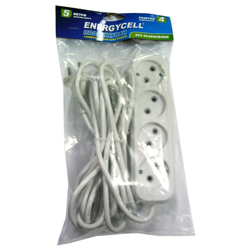 Удлинитель Energecell KD-04R(5,0м/4роз.,10А)