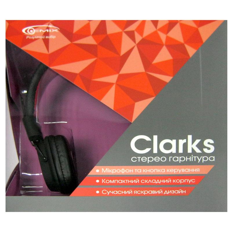 Наушники с микрофоном Gemix Clarks (черно-красные) разьём 3,5jack (4pin)
