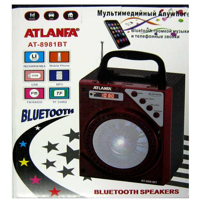 Портативная колонка Bluetooth Atlanfa AT-8981(Распродажа)(аккумулятор,USB;SD)