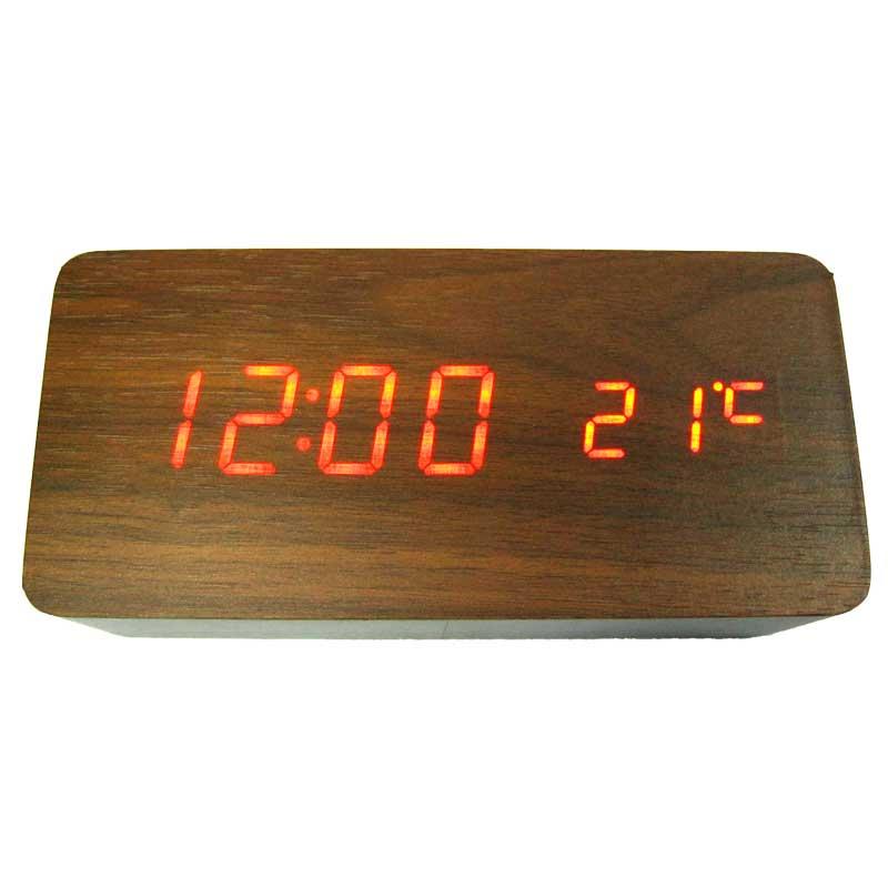 Часы VST-862-1(с красной подсветкой,форма в виде дерев.бруска)