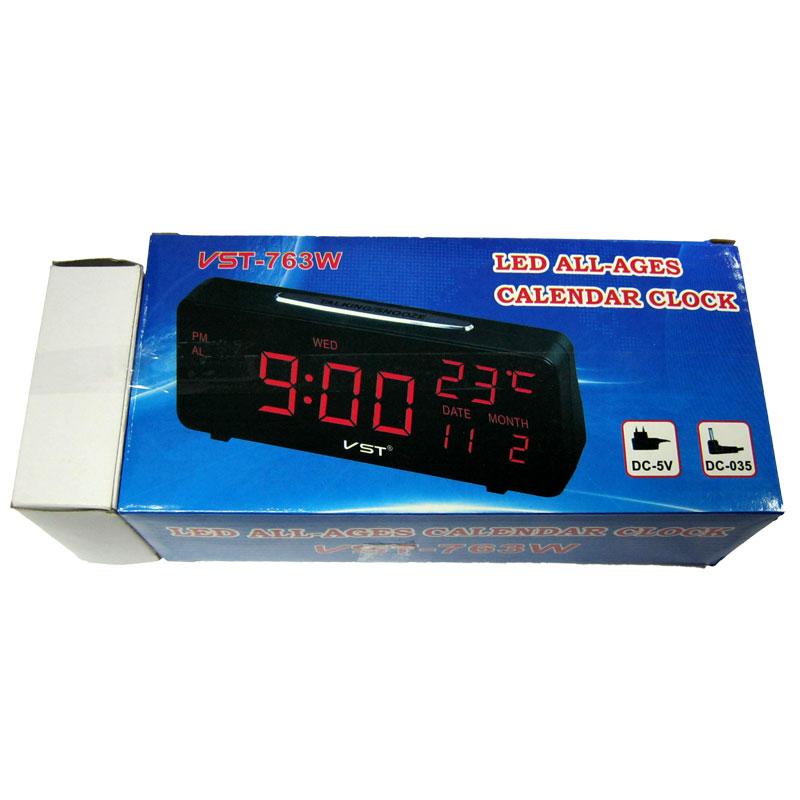 Часы VST-763W-1(Распродажа)(от сети,с красной подсветкой+датчик темп.и дата)