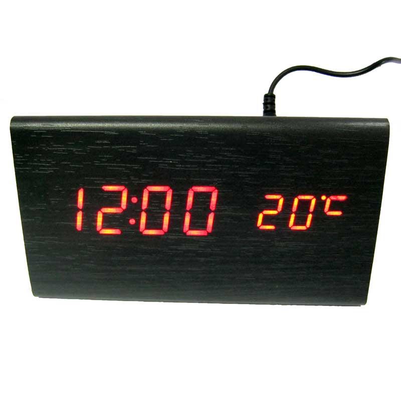 Часы VST-861-1(Распродажа)(с красной подсветкой,форма в виде дерев.бруска)