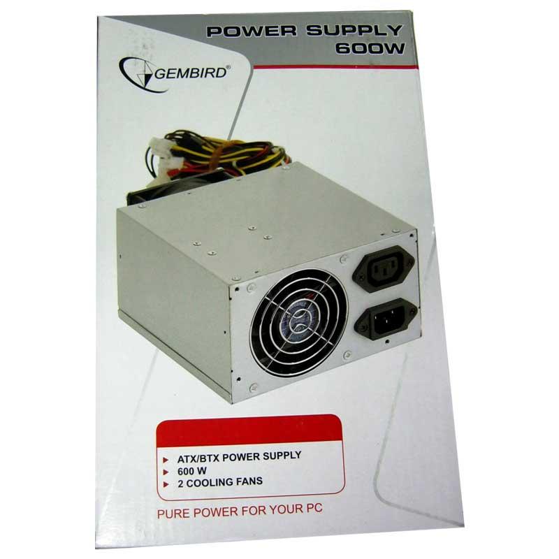 Блок питания Gembird 600W CCC-PSU8-12 ATX/BTX+шнур питания Dual Fan