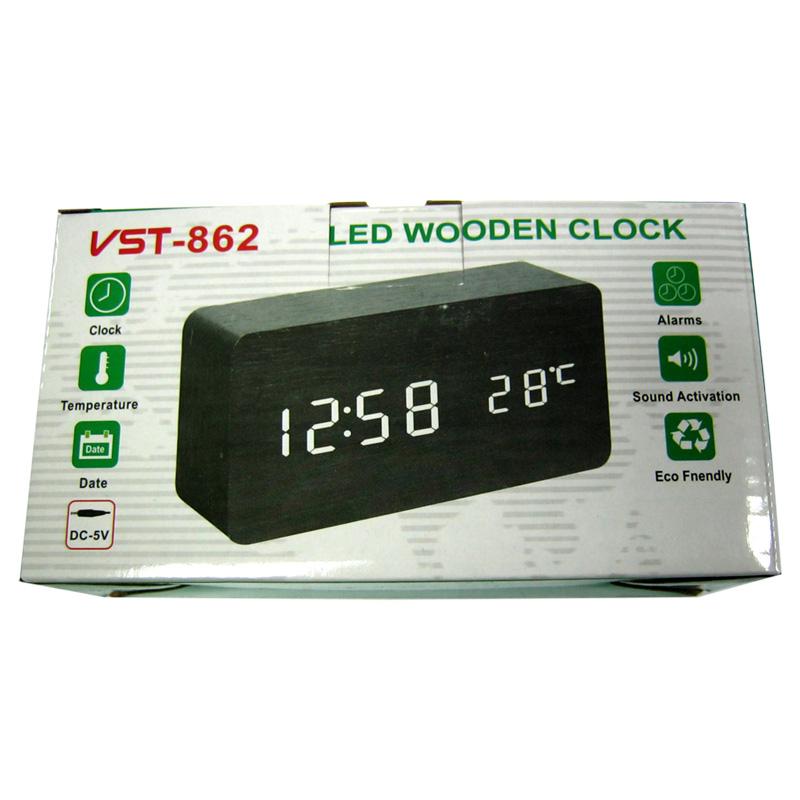 Часы VST-862-4(с зеленой подсветкой,форма в виде дерев.бруска)
