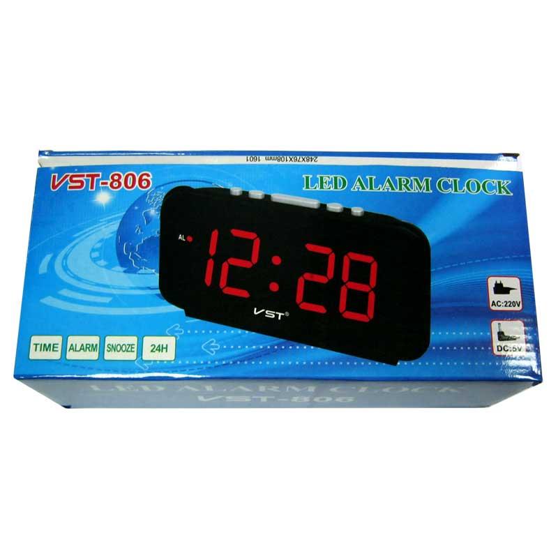 Часы VST-806-1(Распродажа)(от сети,с красной подсветкой)