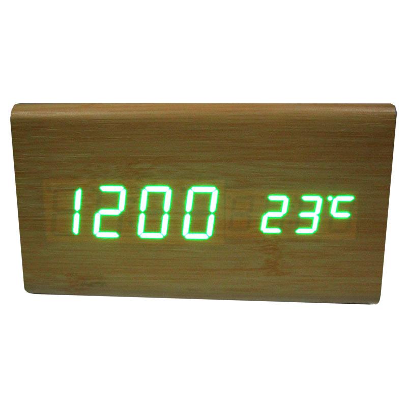 Часы VST-861-4(с зеленой подсветкой,форма в виде дерев.бруска)
