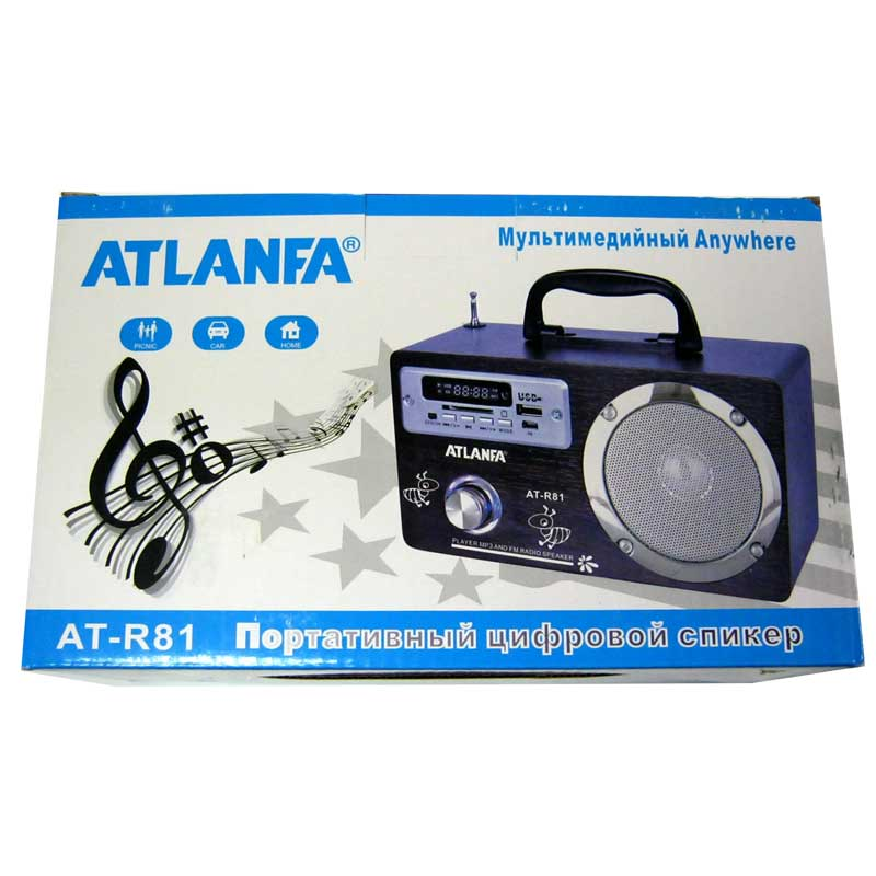 Портативная колонка Atlanfa AT-R81(Распродажа!!!)(аккумулятор,FM,USB;SD,заряжаются от USB)