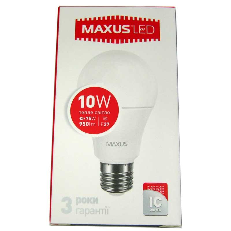 Лампочка светодиодная Maxus led 561-01 A60 10W E27 3000K(Распродажа)