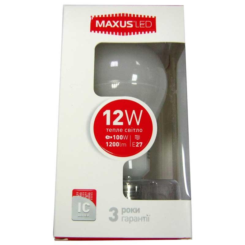 Лампочка светодиодная Maxus led 563-01 A65 12W E27 3000K(Распродажа)
