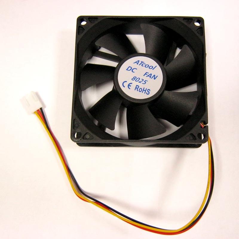 Вентилятор ATcool 8025, 3pin 80x80x25 черный