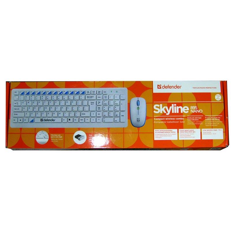 Беспроводная клавиатура DEFENDER Skyline 895 Nano W(белый)+мышка до 15м