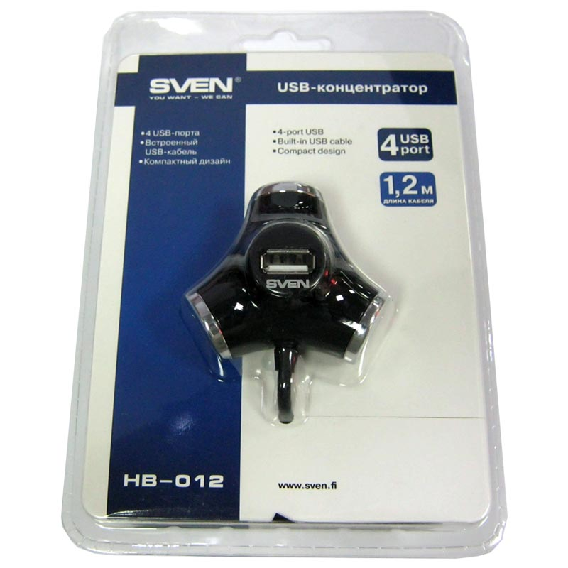 Концентратор USB2.0 SVEN HB-012 Black, 4port